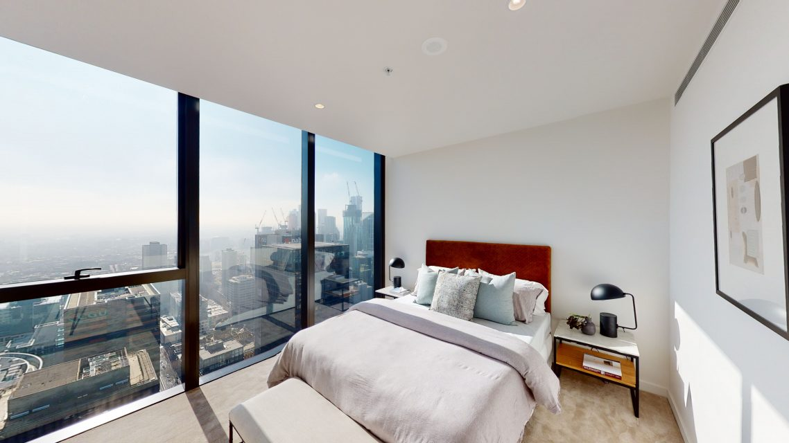 Bedroom with city views