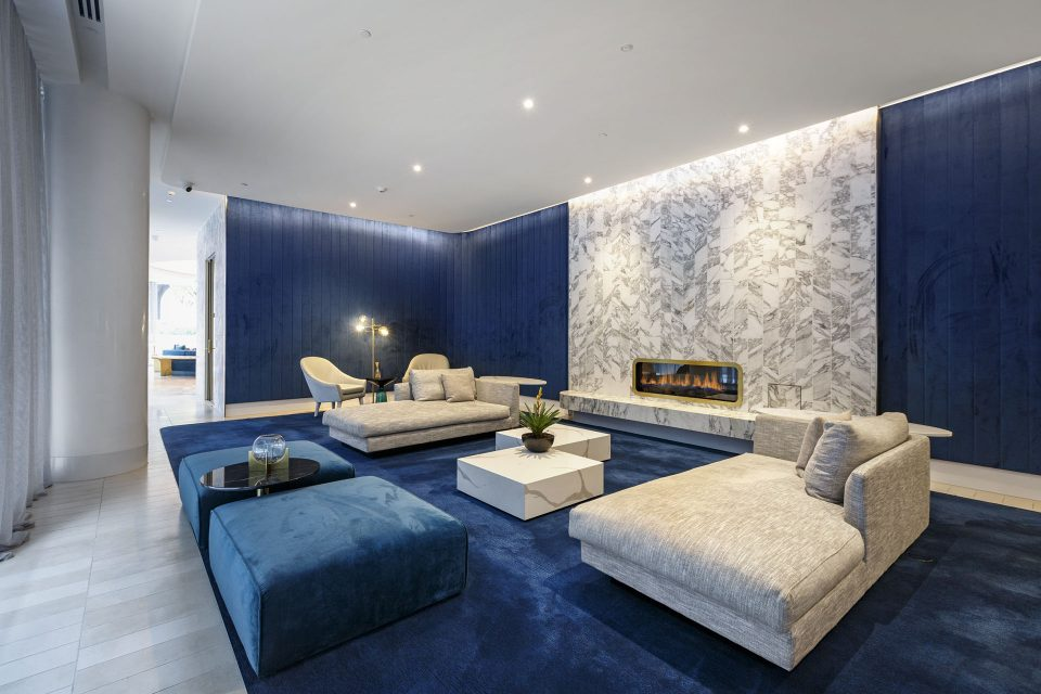 Indoor communal area with blue carpet