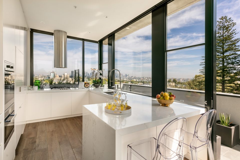 Kitchen area with city views