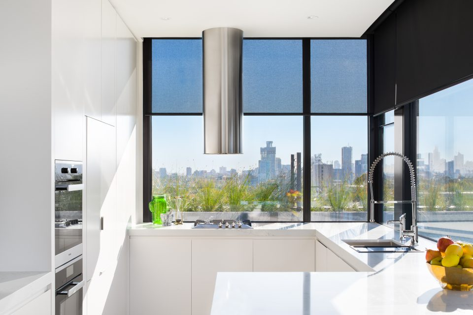Kitchen area with city view
