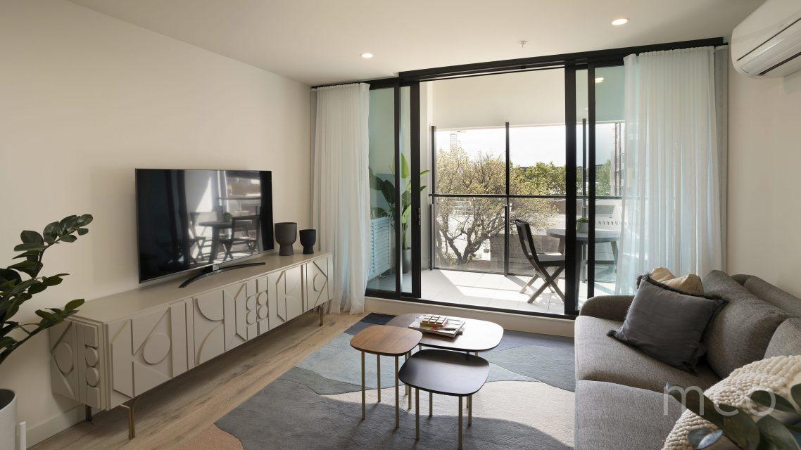 Living space with balcony access