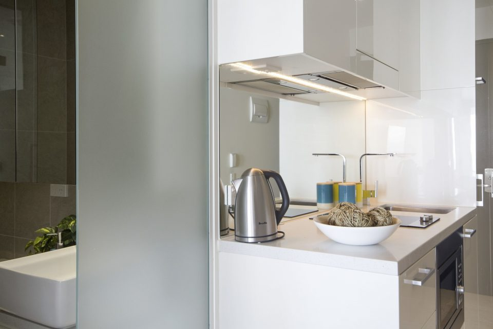 Kitchenette area with kettle